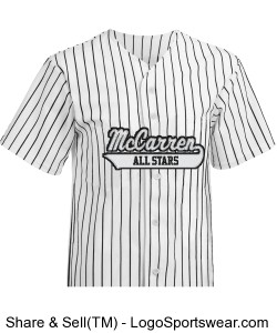 McCarren All Stars Pro Weight 6 Button Pinstripe Jersey With White Lettering Design Zoom