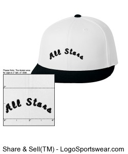 White All Stars Fitted Cap w black bill Design Zoom