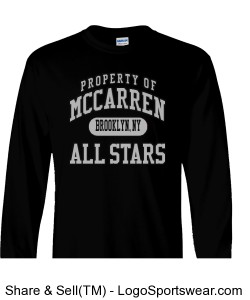 Property Of McCarren All Stars Black Long Sleeve Tee Shirt Design Zoom
