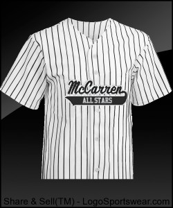 McCarren All Stars Pro Weight 6 Button White With Black Pinstripe Jersey Design Zoom