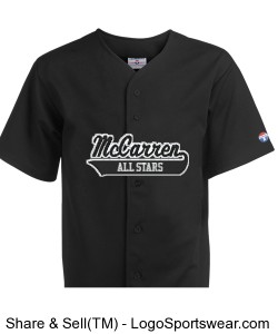 McCarren All Stars Pro Weight 6 Button Jersey w Black Letters Design Zoom